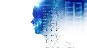silhouette of virtual human on circuit pattern 3d illustration ,