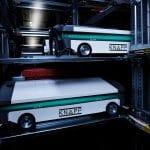 """Los recambios de Diesel Technic para los vehículos se ponen a disposición desde el OSR Shuttle ™ Evo y se preparan según el principio """"mercancía a la persona""""."""