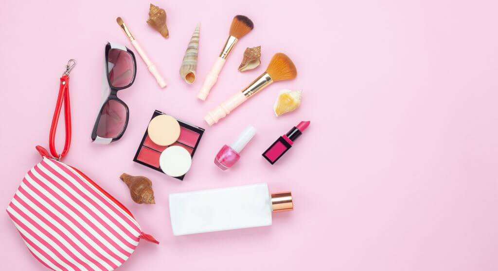 Table top view women fashion & beauty for travel summer